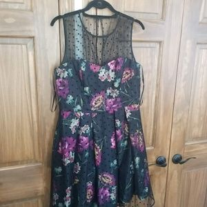 Purple floral cocktail dress w/sheer dot overlay
